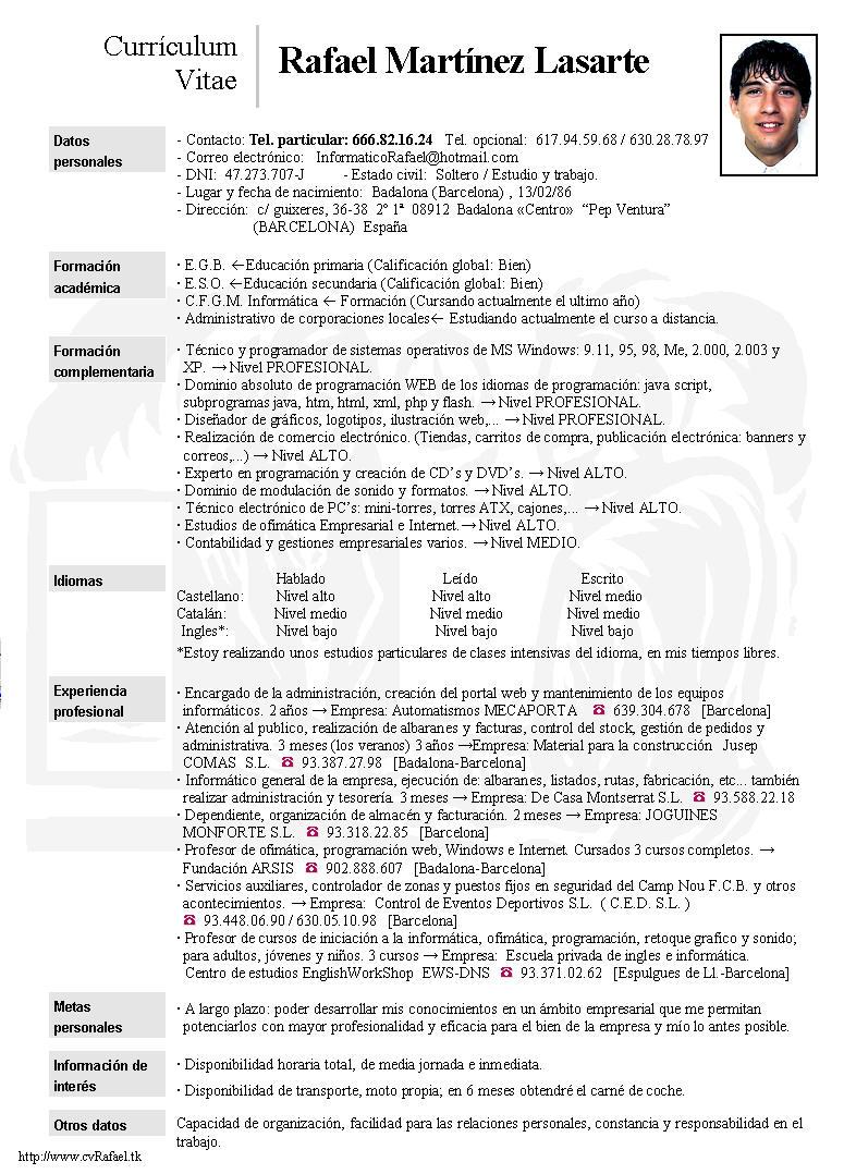 Increíble Currículum Informatica Embellecimiento - Colección De ...